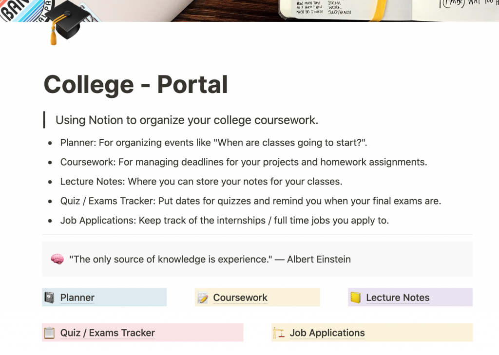 Notion College Template