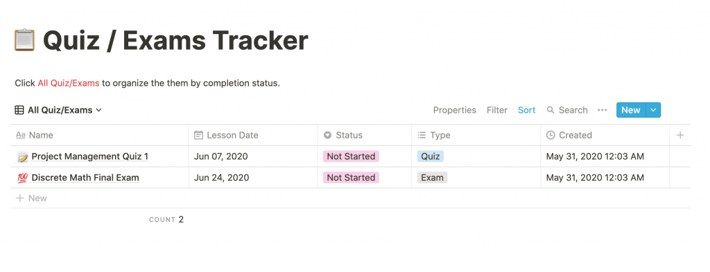 Notion Quiz and Exams Tracker