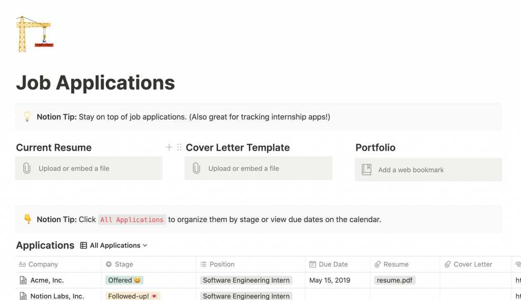 Notion Job Applications College