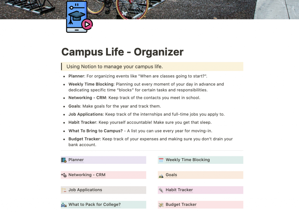 Campus Life Organizer Notion