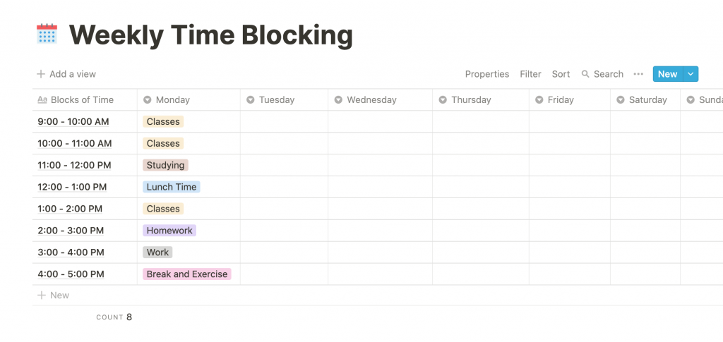 Weekly Time Blocking Notion