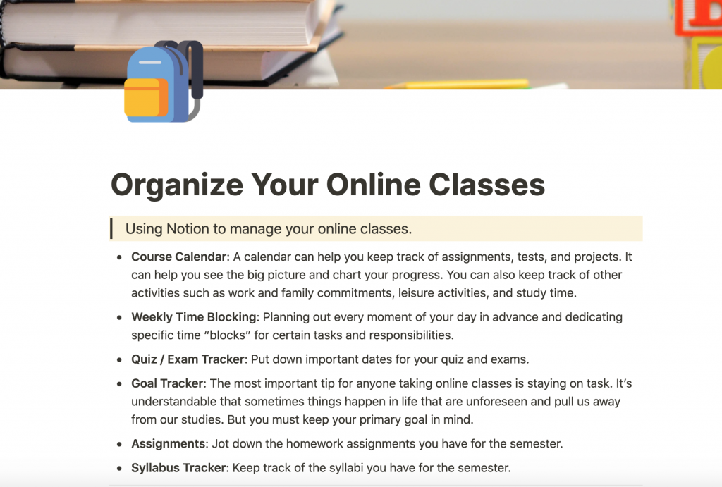 Notion Organize Your Online Classes