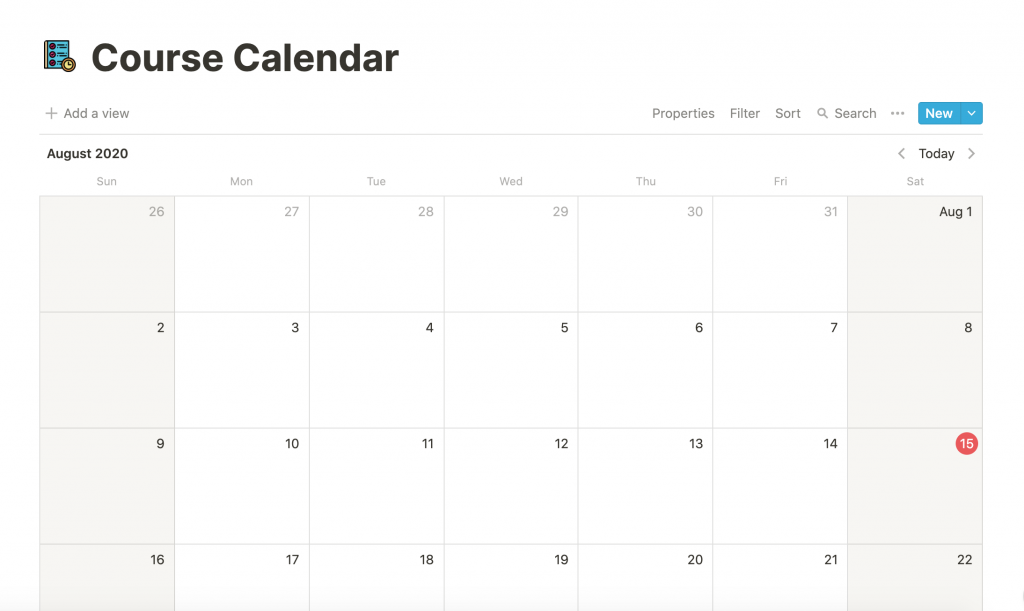 Notion Course Calendar