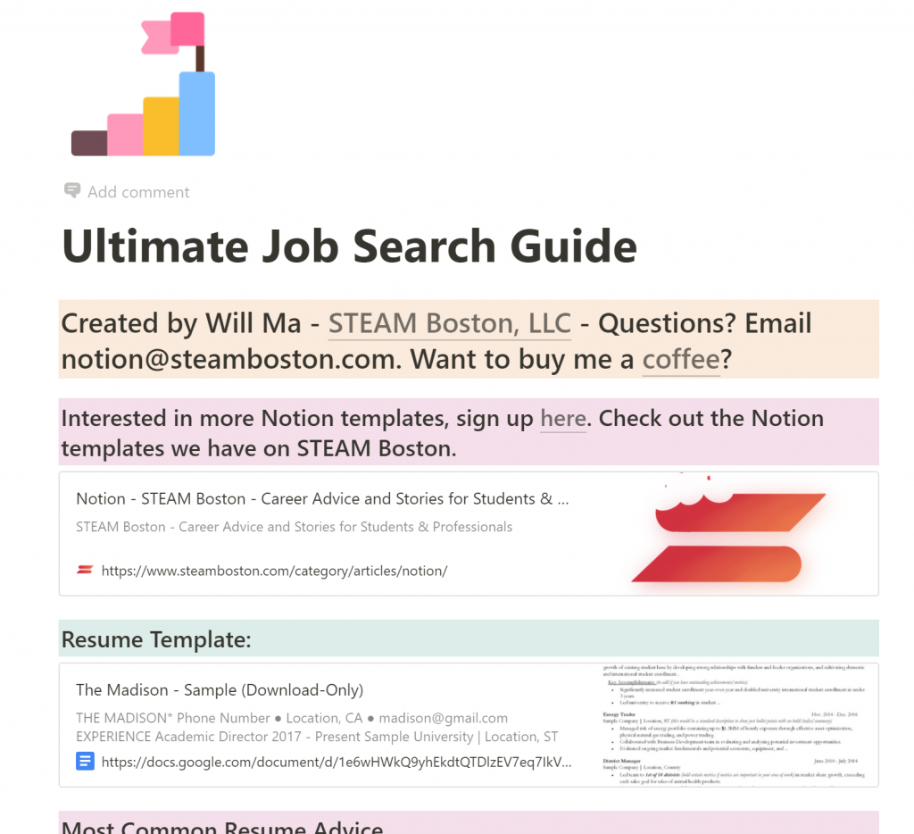 Ultimate Job Search Guide in Notion